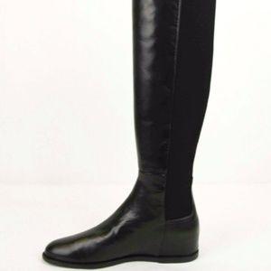 Stuart Weitzman Mainline 5050 Black Leather Hidden Wedge Knee-High Boot